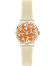 Orla Kiely OK2080 Las señoras Patricia crema de naranja reloj correa de cuero