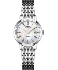 Rotary LB05300-07 Relojes de reloj de acero del tono plateado Windsor