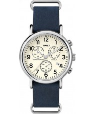 Timex TW2P62100 reloj cronógrafo azul correa de fin de semana