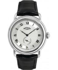 Rotary GS02424-21 Mens relojes Sherlock Holmes plata reloj negro