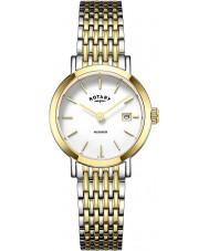 Rotary LB05301-01 Relojes de Windsor dos de oro tono de reloj plateado