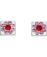 Orla Kiely E5224 Señoras de plata de ley pendientes de cubo flor con detalles swarovski