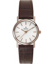 Bulova 98V31 Vestido de las señoras reloj marrón blanco
