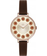 Orla Kiely OK2086 Señoras de la hiedra de flores swarovski establece reloj de la correa de cuero de color marrón oscuro