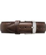 Daniel Wellington DW00200023 Mens clásico Bristol 40mm plata de cuero marrón correa de repuesto