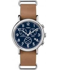Timex TW2P62300 Weekender reloj cronógrafo correa de color marrón