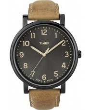 Timex T2N677 Para hombre negro tan reloj redondo clásico