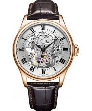 Rotary GS02942-01 relojes para hombre chapado en oro rosa reloj mecánico esqueleto marrón