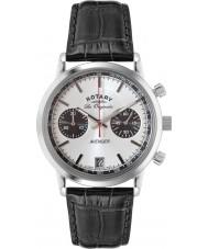 Rotary GS90130-06 Mens les originales reloj cronógrafo de acero negro vengador deportes