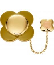 Orla Kiely D341 Señoras de la margarita oro de 18 quilates chapado en cadena de broche de la flor