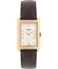 Rotary GS02699-01 relojes para hombre portland aumentaron reloj de la correa de cuero marrón de oro