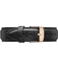 Daniel Wellington DW00200007 Mens clásico 40mm Sheffield rosa de cuero negro correa de repuesto de oro