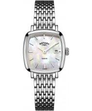 Rotary LB05305-07 Relojes de reloj de acero del tono plateado Windsor