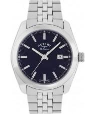 Rotary GB90110-05 Mens les originales Lausanne reloj de pulsera de acero de plata