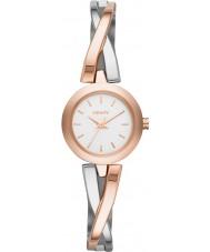 DKNY NY2172 Señoras cruce de peatones aumentaron reloj de plata de oro