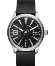 Diesel DZ1766 reloj de la correa de cuero negro para hombre de la escofina
