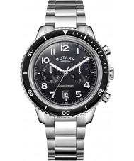 Rotary GB05021-04 reloj de acero negro para hombre relojes del océano vengador crono