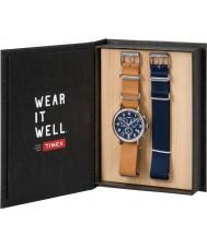 Timex TWG012800 Para hombre de fin de semana cuero marrón y azul cronógrafo nylon set de regalo reloj repuesto