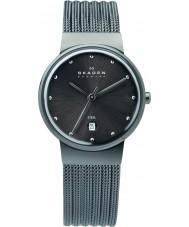 Skagen 355SMM1 Damas klassik reloj de malla de acero de carbón