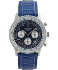Krug-Baumen 400507DS Aire diamante viajero esfera azul azul de la correa