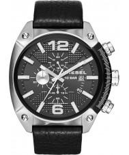 Diesel DZ4341 reloj de la correa de cuero negro para hombre del cronógrafo de desbordamiento