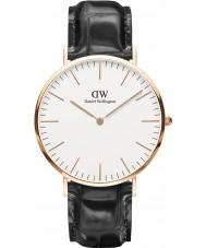 Daniel Wellington DW00100014 Reloj para hombre de la correa de cuero negro clásico de 40 mm de lectura