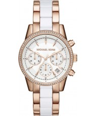 Michael Kors MK6324 Damas Ritz se levantó y reloj cronógrafo blanco