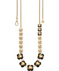 Orla Kiely N4020 Damas cadenita de oro de 18 quilates blanco y negro largo collar de flores