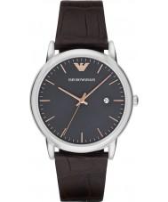 Emporio Armani AR1996 vestido para hombre reloj de la correa de cuero de color marrón oscuro