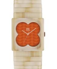 Orla Kiely OK4009 Las señoras de naranja mate Lucy pálido expansor cuerno reloj de la correa