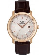 Rotary GS90093-06 Mens les originales reloj de cuero marrón