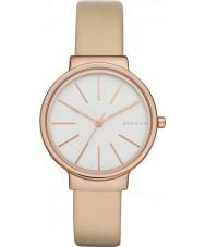 Skagen SKW2481 reloj de la correa de cuero de las señoras de avena ancher