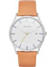 Skagen SKW6282 reloj de la correa de cuero marrón para hombre de la luz Holst
