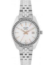 Rotary LB90110-21 Damas les originales de piedra Lausana establece reloj de acero de plata