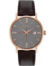 Bulova 97B154 Mens Aerojet reloj de la correa de cuero de color marrón oscuro