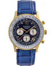 Krug-Baumen 400207DS Aire diamante viajero esfera azul azul de la correa