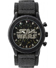 Disney STW1301 Niños reloj de velcro negro con esfera estrellada