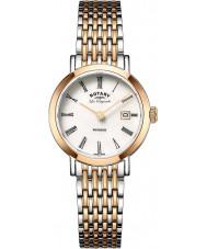 Rotary LB90155-01 Damas les originales Windsor en dos tonos de oro rosa reloj plateado