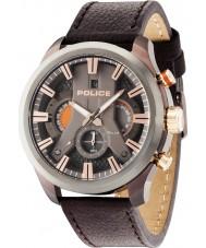 Police 14639JSBZU-61 reloj de la correa de cuero marrón para hombre del ciclón