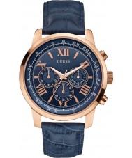 Guess W0380G5 horizonte azul de cuero para hombre reloj cronógrafo