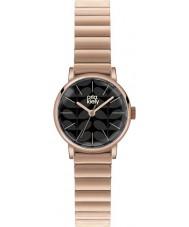 Orla Kiely OK4012 Frankie damas negro mate oro rosa reloj plateado