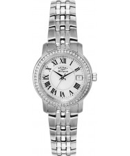 Rotary LB90090-41 Damas les originales reloj de pulsera de acero de plata