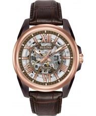 Bulova 98A165 Para hombre reloj automático de la correa de cuero marrón