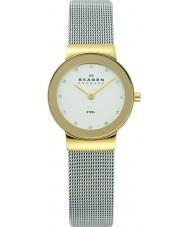 Skagen 358SGSCD Damas klassik reloj de malla de plata blanco