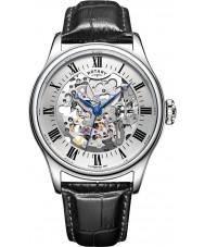 Rotary GS02940-06 relojes de plata para hombre negro esqueleto reloj mecánico