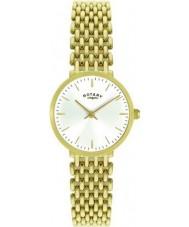 Rotary LB00900-01 Señoras de oro reloj plateado