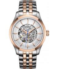 Rotary GB05034-06 Mens dos tonos chapado en oro rosa reloj mecánico esquelético