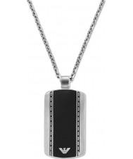 Emporio Armani EGS1921040 Para hombre elegante de terciopelo collar de acero de dos tonos