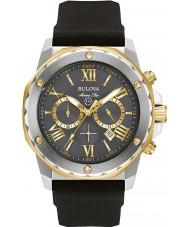 Bulova 98B277 Reloj para hombre correa de caucho negro de acero estrella marina