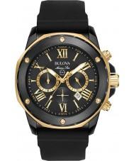 Bulova 98B278 Reloj para hombre correa de caucho negro marino estrella de oro